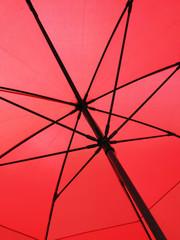 Closeup of a red umbrella