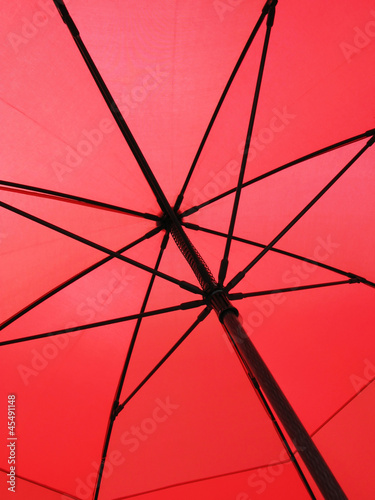 Closeup of a red umbrella