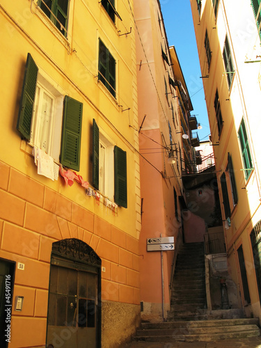 Narrow street of Camogly, Italy