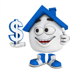Kleines 3D Haus Blau - Dollar Symbol