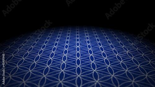 Boden mit Textur  Blume des Lebens  Blau Silber