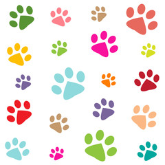 colored pattern with paw prints