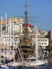 Old galleon in the port of Genoa