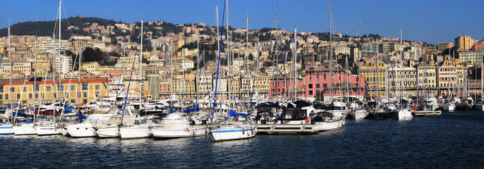 Tier of yachts in the port of Genoa, Italy
