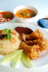 Rice steamed with chicken soup and Fried Chicken wings