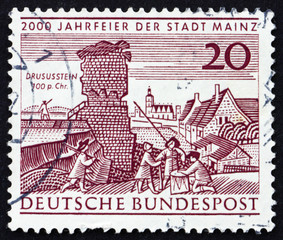 Postage stamp Germany 1962 Drusus Stone and Old View of Mainz