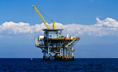 Pacific Ocean offshore oil rig drilling platform, California