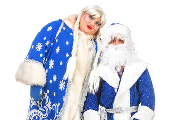 Travesty Actors Genre Depict Santa Claus and Snow Maiden