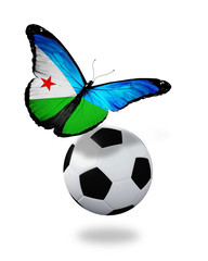 Concept - butterfly with Djibouti flag flying near the ball, lik