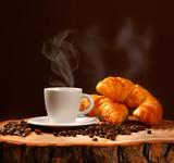Fototapety Caffè Espresso con cornetti caldi