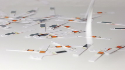 Test strips are scattered