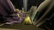 3D animation city. Night flight.