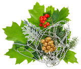 New Year composition with ilex, fir, berries and beads, isolated