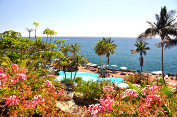 Luxurious resort at the Atlantic ocean. Tenerife island, Canarie