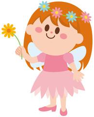 妖精 花を持つ 女の子 イラスト