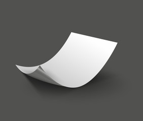 3d blank sheet of paper. Paper page with curl.