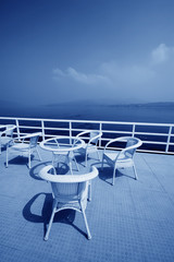 cany chair on ship's deck