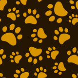 Fototapety Cat footprint seamless pattern, vector