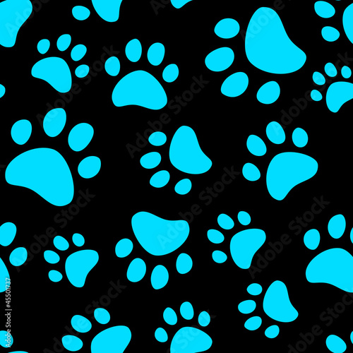 Cat footprint seamless pattern, vector