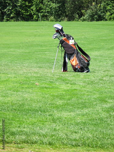 Golf bag on the grass