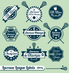 Vector Set: Retro Lacrosse League Labels and Badges