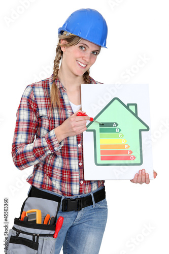 Woman holding screwdriver and energy rating card
