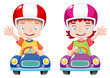 illustration of Kids raced on toy car