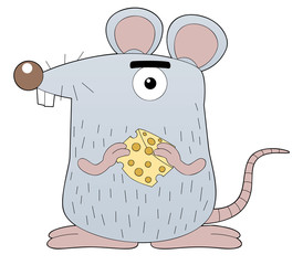 illustration of rat holding cheese