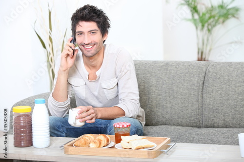 portrait of a man at breakfast