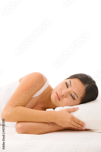Asian woman sleeping