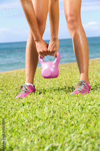 Kettlebell fitness training woman