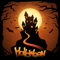 EPS 10 Halloween background with moon, bats and pumpkins.