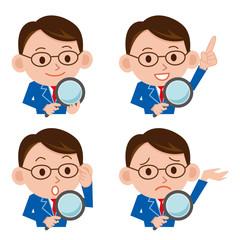 虫眼鏡 ビジネスマン 表情 セット