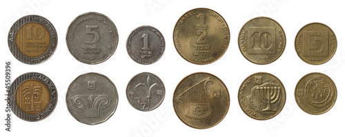 Israeli Coins Isolated on White