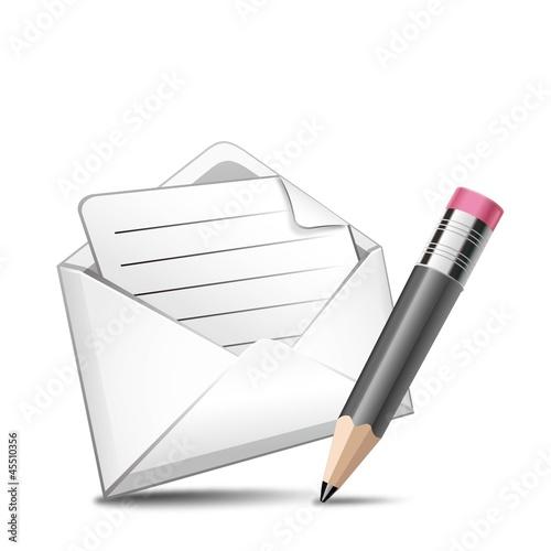 ベクター、メールと鉛筆