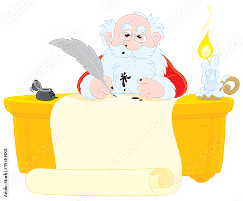 Santa writes with feather and ink