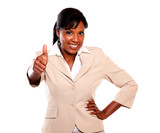 Adult businesswoman lifting the fingers up poster