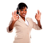 Adult businesswoman saying great job poster