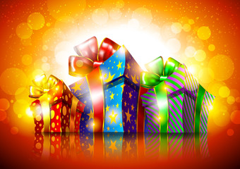Gift boxes on a bright background