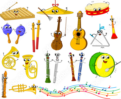 Set of funny cartoon musical instruments for kids