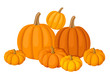 Group of seven orange pumpkins. Vector illustration.