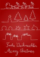 Weihnachtliche Symbole vor rotem Hintergrund