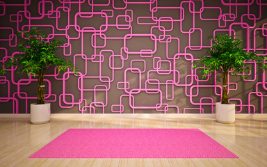 empty interior with pink carpet and trees