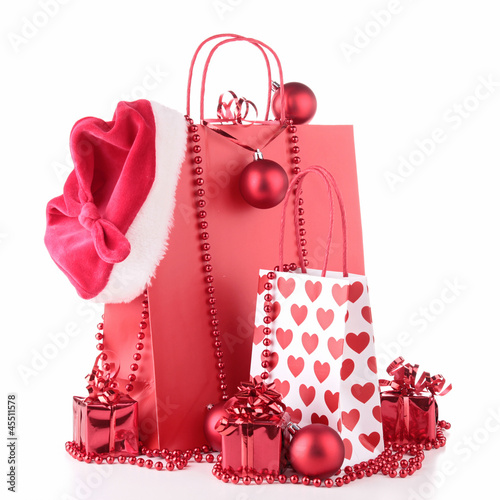 christmas shopping bag and decoration