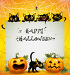 Black Cats Halloween background