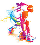 Fototapety Basketball player. Vector illustration.