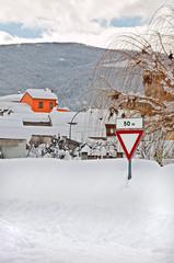 paesello coperto di neve