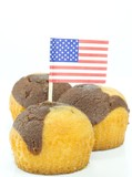 Chocolate vanilla muffins with the USA flag on top