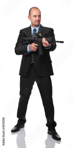 businessman with rifle