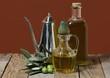olio d'oliva in una tavola rustica
